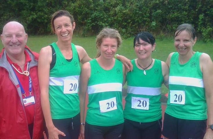 F45 4x100m champions: Emma Parsons, Sherryl Hall, Debbie White and Stef Francis
